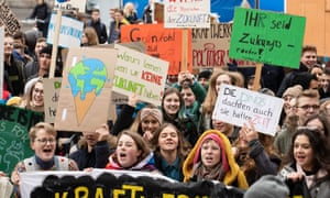Over 600 young students in a climate change protest in Bamberg, Germany