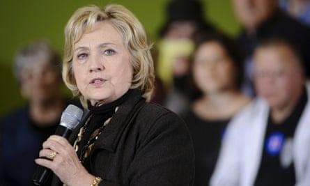 Hillary Clinton speaks in Iowa.