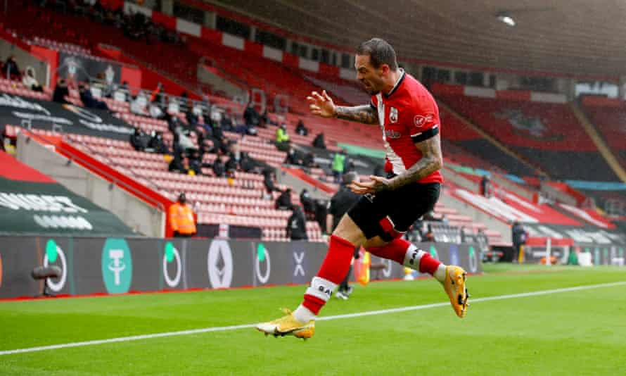 Danny Ings jumps for joy after putting Southampton in front.