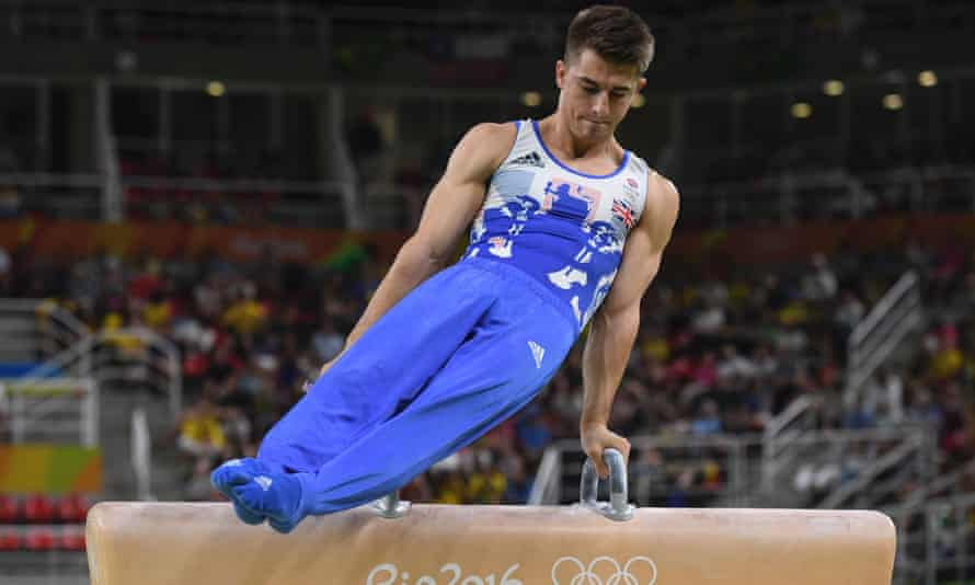 Max Whitlock competes in the men's pommel horse event final.