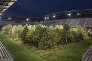 Klaus Littmann's For Forest - The Unending Attraction of Nature, Art Intervention 2019, Wörthersee Stadium, Klagenfurt, Austria