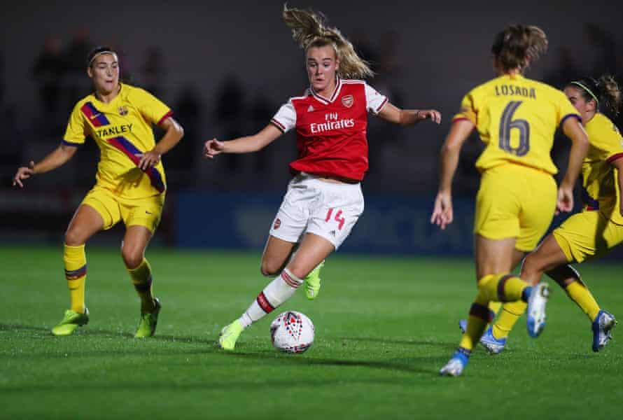 Arsenal's Jill Roord during the pre-season friendly against Barcelona Femini at Meadow Park.