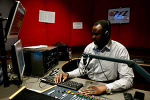 Matoc Achol hosts a Sudanese radio program on the Melbourne multicultural station 3ZZZ.