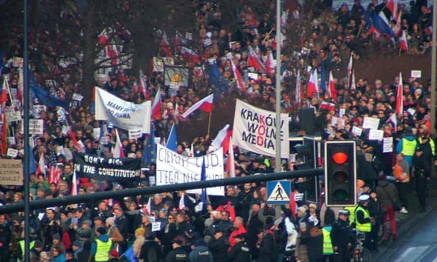 Demonstrators outside Kraków's radio station.