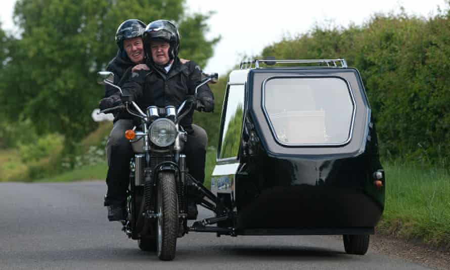 A motorcycle hearse, becoming an increasingly popular mode of transport.