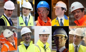 Composite picture of George Osborne wearing hard hats on many occasions
