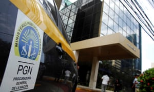 A car from the attorney general's office is seen outside the Mossack Fonseca offices in Panama City.