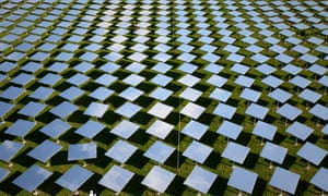 A researcher works in the mirror field of the Juelich solar tower in north-west Germany.