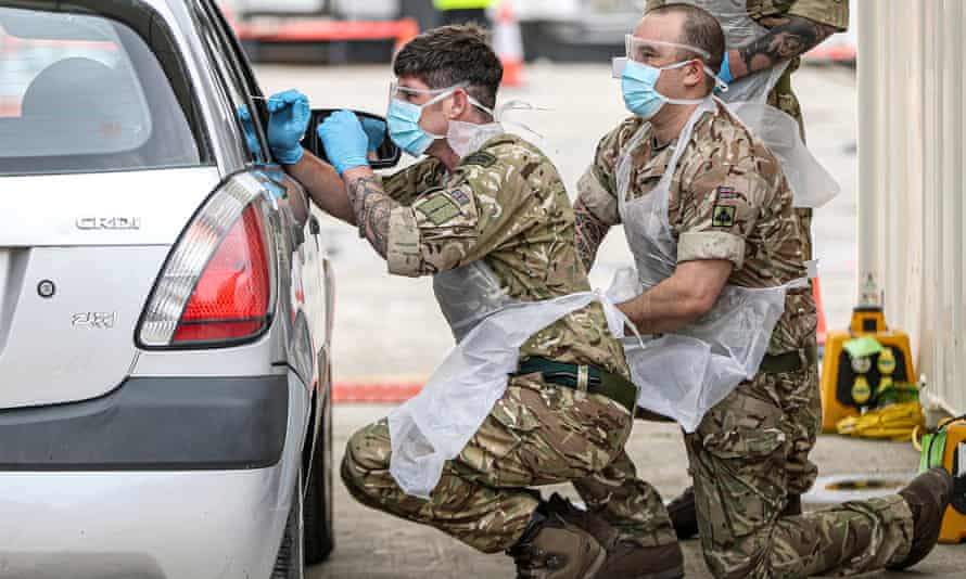 British army personnel at Plymouth Covid testing facility in April.