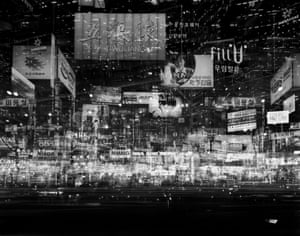 Namdaemunno II, Seoul, 2008 Multiple exposures of photographs of Seoul, Hong Kong and Beijing reflect the development of these cities, as well as the dangers associated with this, including pollution and inequality.