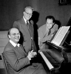 1954: (<em>left to right)</em> Olivier Messiaen, Michael Fano and Boulez.