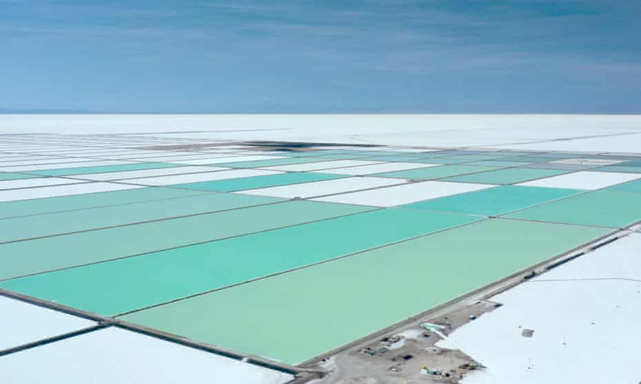A lithium extraction complex in the Salar de Uyuni, Bolivia.