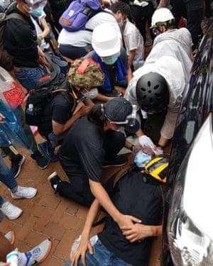 Image posted to social media purporting to show someone shot during protests in Hong Kong.