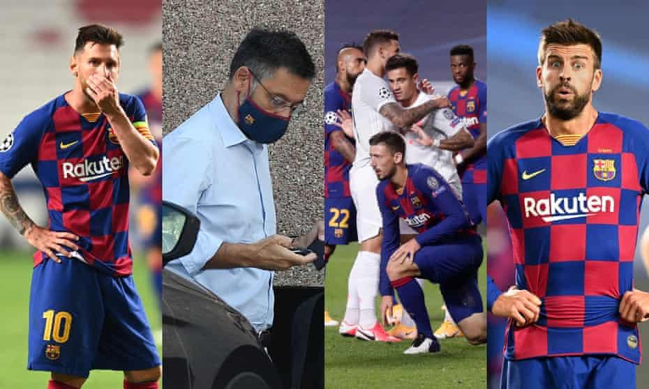 (L-R) Lionel Messi, Josep Maria Bartomeu, Philippe Coutinho, Gerard Pique.