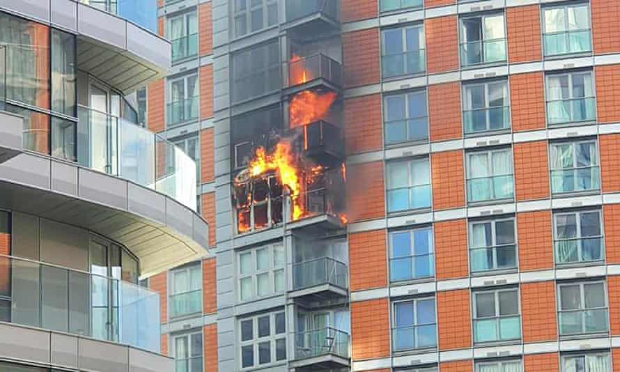 Fire at the tower block in New Providence Wharf in London
