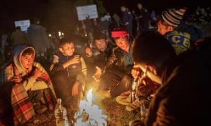 Migrants and refugees near Croatian border