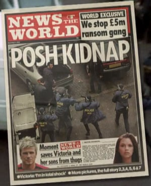 The News of the World front page reporting on the alleged plot to kidnap Victoria Beckham.