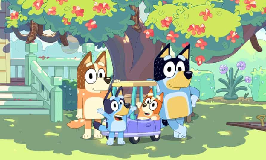 Bluey's family: Dad, Mum, Bluey and Bingo.