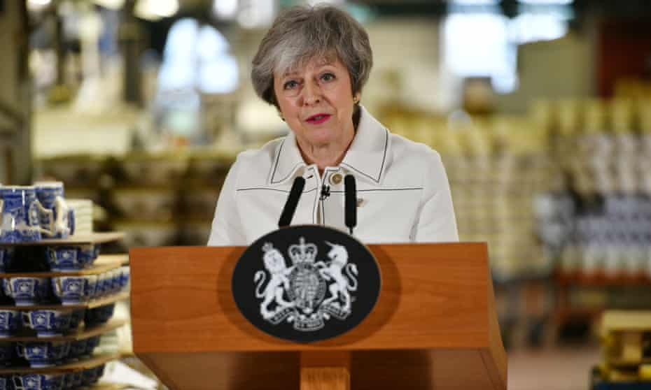 Theresa May in Stoke-on-Trent on 14 January.