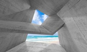 Concrete abstract architecture 3D illustration