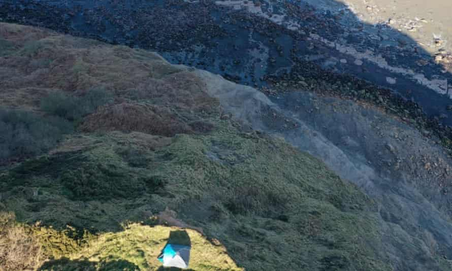 tent on cliff edge in Yorkshire