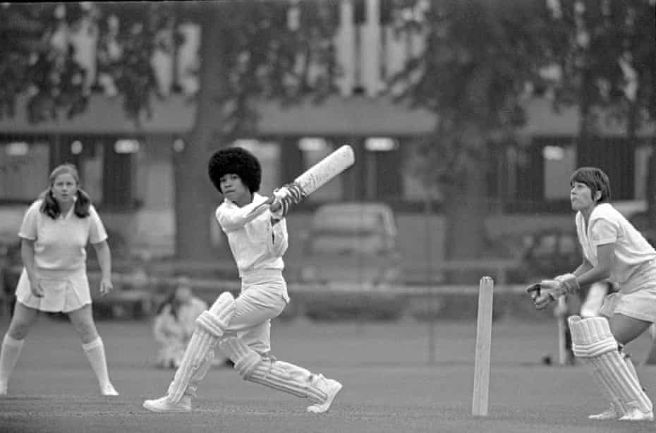 Jane Joseph (Trinidad) topscorer with 23 not out batting, Lynne Read is the wicketkeeper, Women's World Cup (Young England v Trinidad) at Fenners in Cambridge on 14 July 1973.
