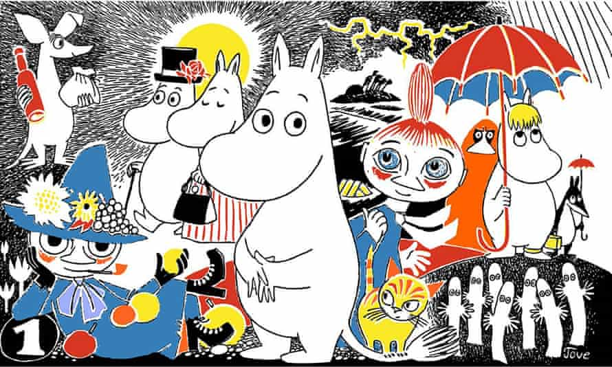 The beloved Moomin characters, clockwise from top left: Sniff, Moominpappa, Moominmamma, Moomintroll, Mymble, Snorkmaiden, the Hattifatteners, Snufkin.