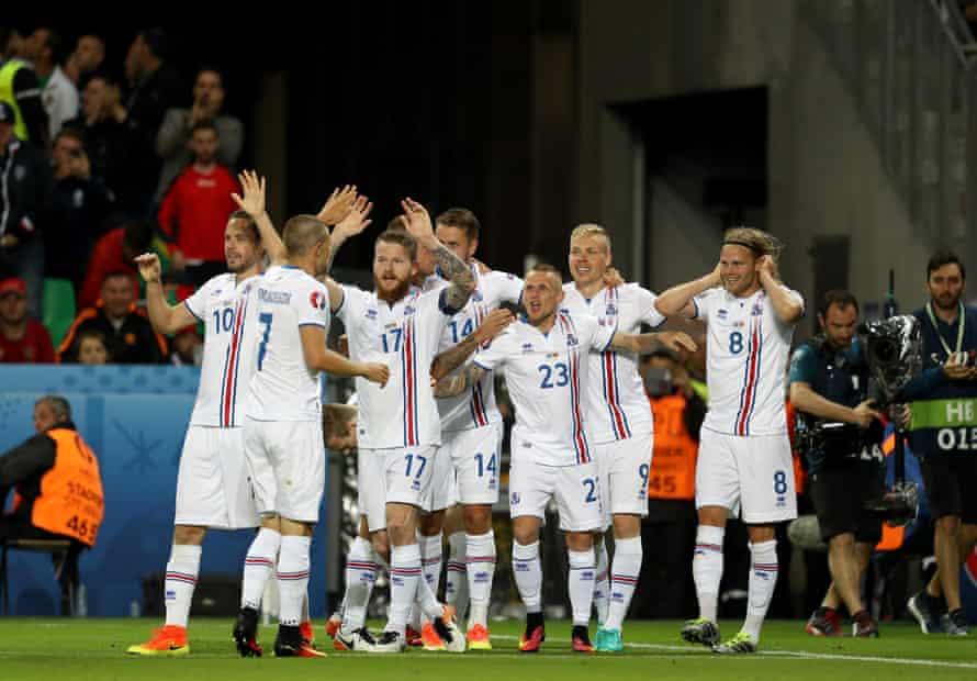 The Iceland team celebrate Birkir Bjarnason's equaliser against Portugal.