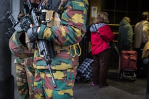 Soldiers stand guard at Brussels' central station