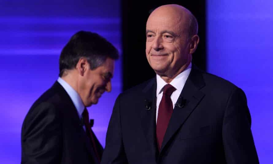 The moderate Les Republicains candidate Alain Juppe in Thursday's TV debate.