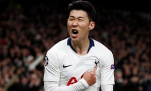 Son Heung-Min of Tottenham Hotspur celebrates after opening the scoring.
