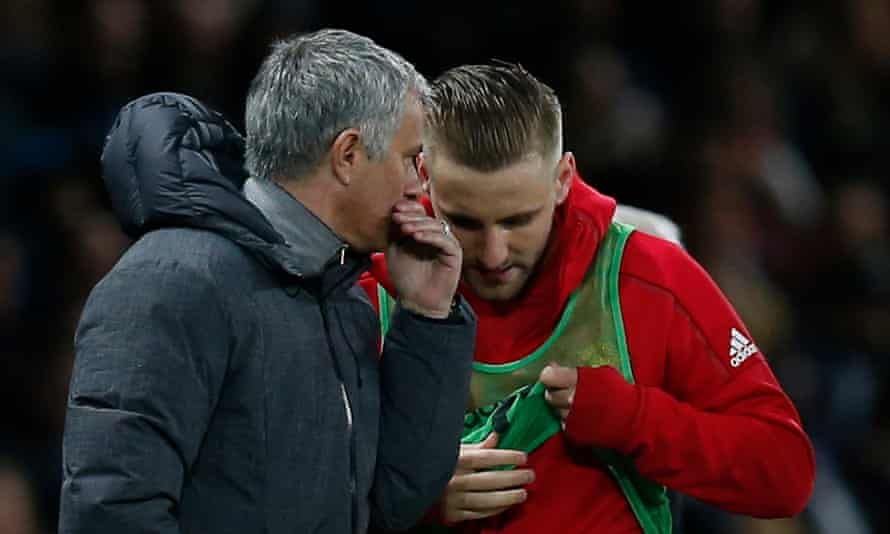 Luke Shaw with José Mourinho at Manchester United