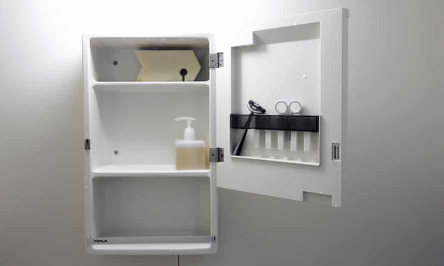 The bathroom cupboard of minimalist Fumio Sasaki.