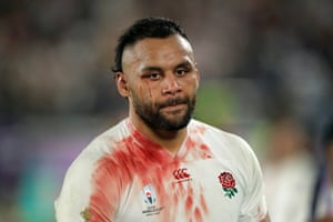 A bloodied and dejected Billy Vunipola reacts after England's defeat by South Africa in the Rugby World Cup final.