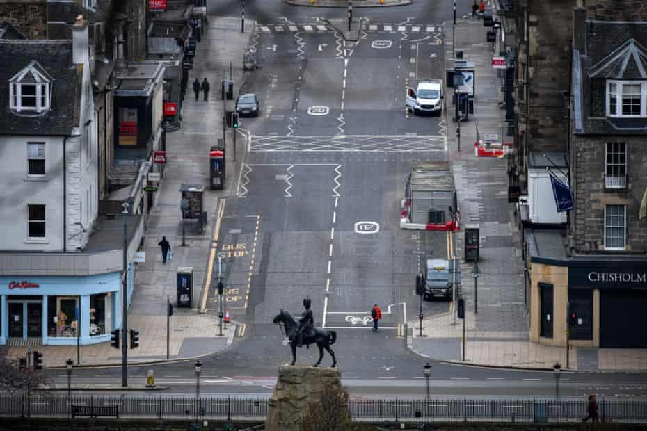 Edinburgh under lockdown in April.