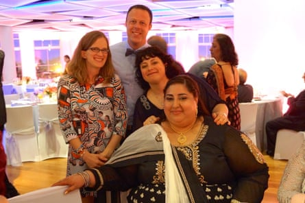 Priya, bottom, poses with friends at her sister Anisha's wedding in 2015. Laura Stanfill, left, Justin Vandergaag, top center, and Melissa Auriemma.