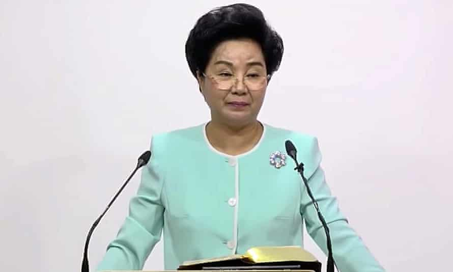 Shin Ok-ju speaking to her followers in South Korea.