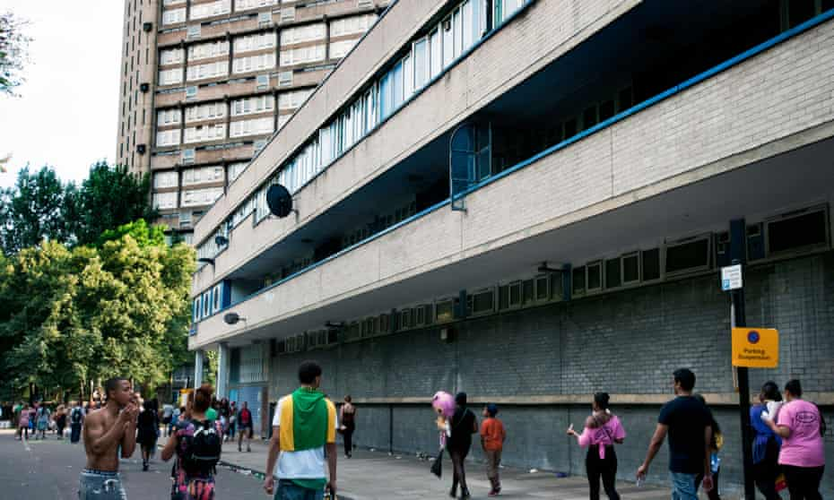 Council Housing Estate in West London with young people