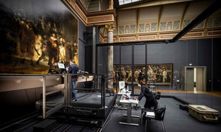 Restorers working on Rembrandt's Night Watch at the Rijksmuseum, Amsterdam.