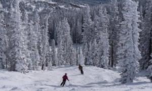 Skiers in Colorado, US.