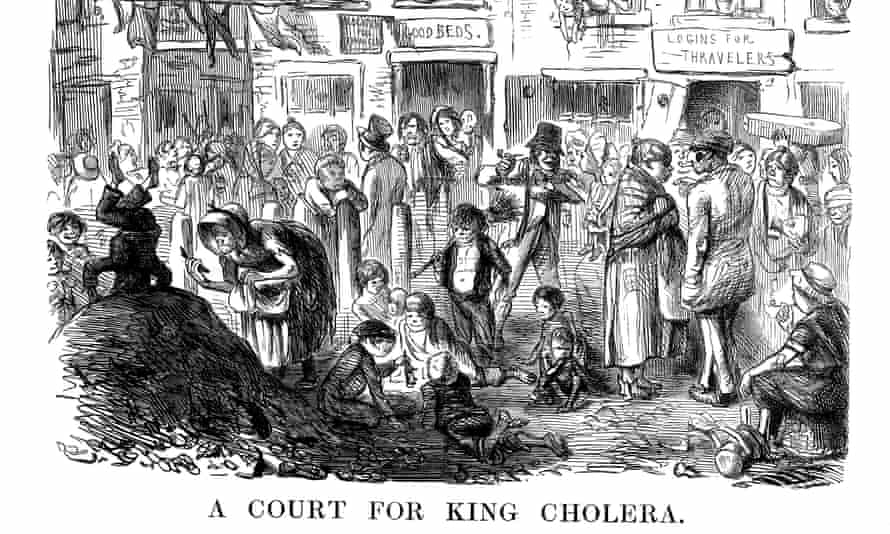 'A Court for King Cholera': A cartoon from Punch magazine in 1852 on a cholera outbreak in London.