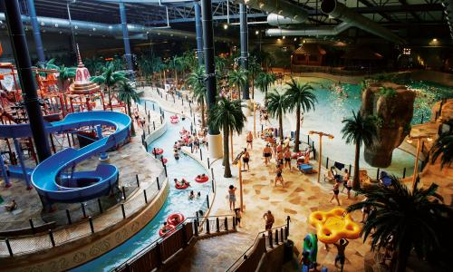 The waterslides and pools of Lalandia.