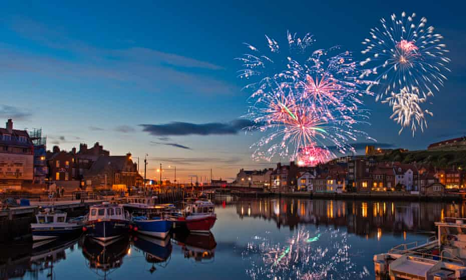 Whitby Regatta fireworks, Yorkshire, UK.