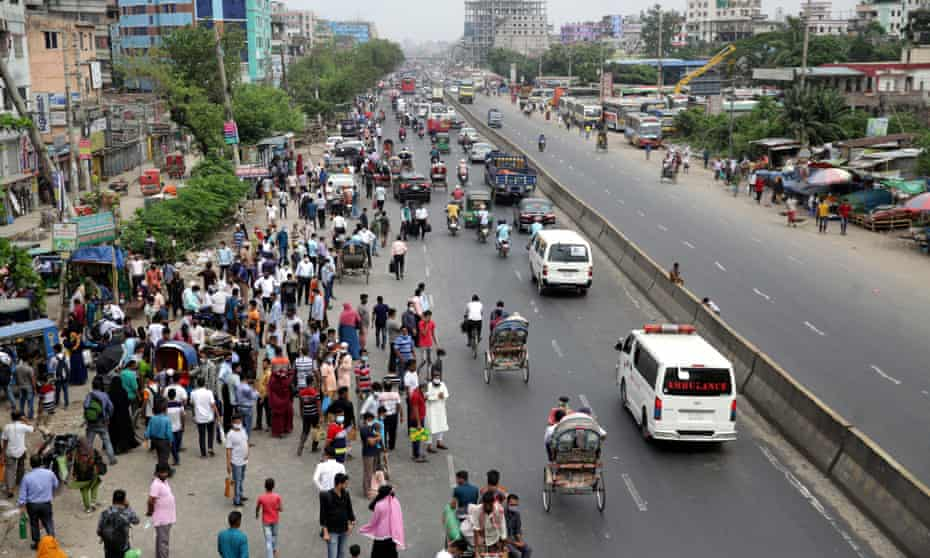 Thousands were stranded in Bangladesh's capital on Monday as authorities shut public transport ahead of a sweeping Covid lockdown.