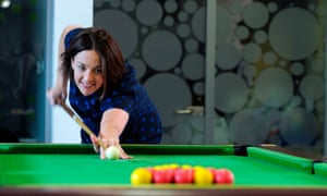Scottish Labour Party leader Kezia Dugdale MSP poses playing pool as she attends a general election campaign event in the Easterhouse area of Glasgow. Britain goes to the polls on June 8 to elect a new parliament after the prime minister Theresa May called for an early general election. / AFP PHOTO / Andy BuchananANDY BUCHANAN/AFP/Getty Images