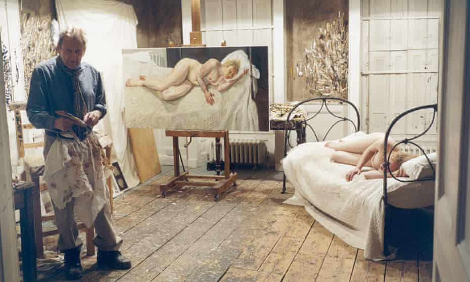 Painting of Ria almost finished: Lucian Freud photographed in his studio with model Ria Kirby by his assistant, David Dawson, 2007
