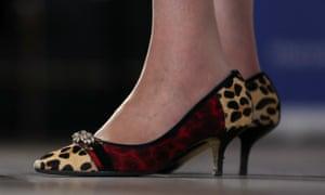 May's leopard-print kitten heels.