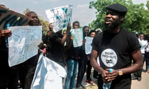 Pilato takes part in a protest against corruption in Lusaka in September 2018