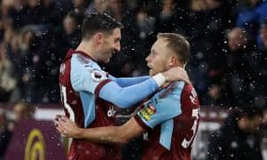 Scott Arfield celebrates scoring Burnley's opening goal against Watford with team mate Stephen Ward.