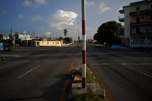 Empty streets on the junction of a usually congested Avenida 31 y 60 in the Playa district